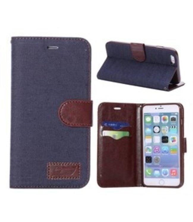 ZWC Spijkerstof Wallet iPhone 6(s) plus - Donkerblauw