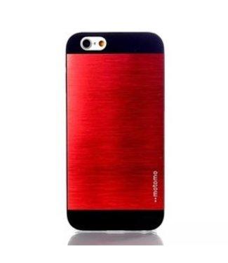 Motomo Aluminium/PC Geborstelde Hardcase Motomo iPhone 6(s) - Rood