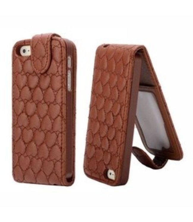 ZWC Leren Flip Case Hartjesmotief Iphone 5(s)/SE - Bruin