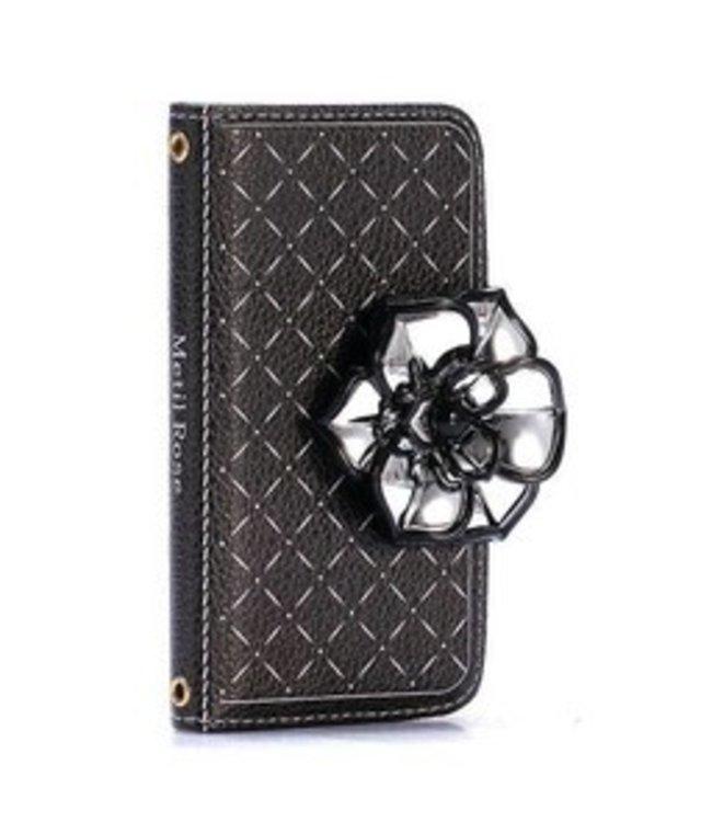 ZWC Rozenknop 3D Wallet/Stand Case iPhone 5C - zwart