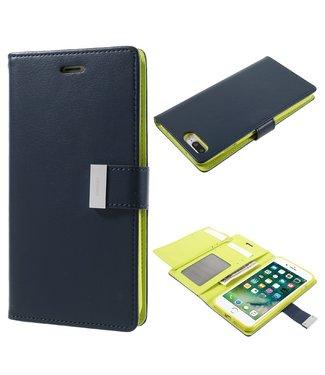 Goospery Leren Wallet case - Rich Diary - iPhone 7/8 plus- Donker Blauw - Goospery