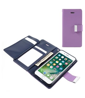 Goospery Leren Wallet case - Rich Diary - iPhone 7/8/SE 2020- Paars - Goospery