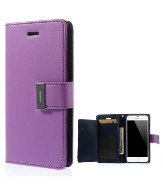 Goospery Leren Wallet case - Rich Diary - iPhone 6(s) - Paars - Goospery