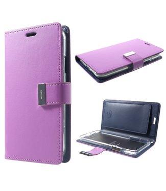 Goospery Leren Wallet case - Rich Diary - iPhone XR - Paars - Goospery
