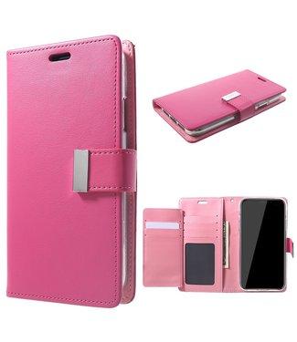 Goospery Leren Wallet case - Rich Diary - iPhone XR - Roze - Goospery