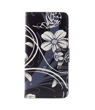 ZWC Leren Wallet - iPhone XR - Bloemen print- Zwart