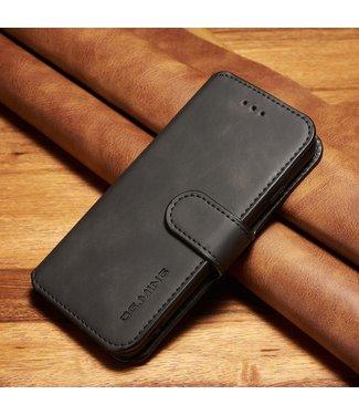 DG-Ming Leren Wallet Case - iPhone 6(s) - Retrostijl - Zwart - DG-Ming.