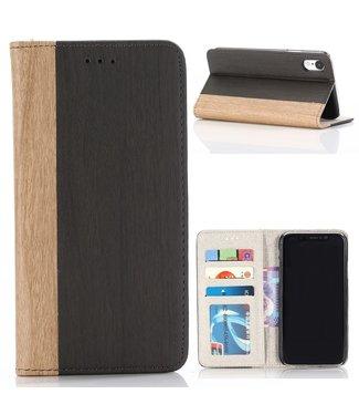 ZWC PU Leren Wallet Case - iPhone XR - Hout bedrukking - Bruin