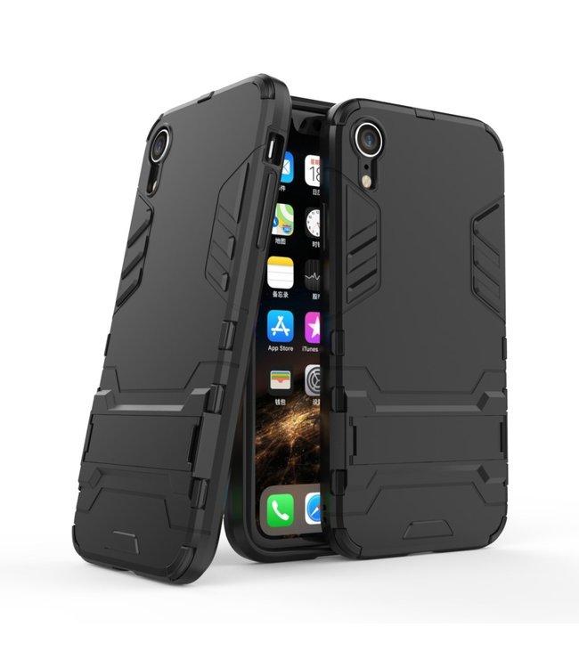ZWC Hardcase met TPU kunststof - handsfree stand - iPhone XR - Zwart - Cool Guard