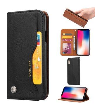 ZWC Leren wallet case - iPhone XR - Zwart/Bruin - Card Set