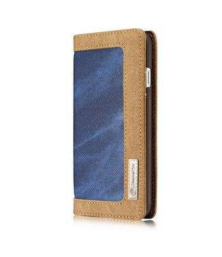 Caseme Leren /stof Wallet case - iPhone 7/8 - Blauw/Bruin - Caseme