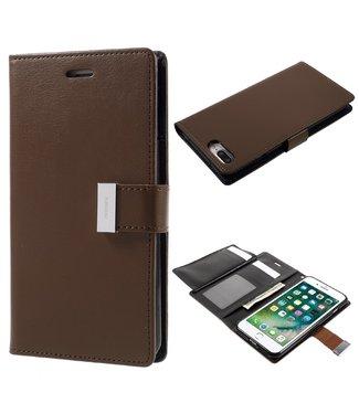 Goospery Leren Wallet case - Rich Diary - iPhone 7/8 Plus  - Bruin - Goospery
