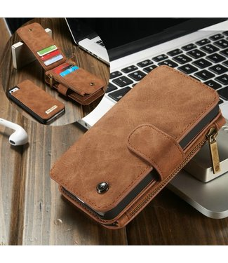 Caseme 2 in 1 Leren Wallet + Case - iPhone 5(s)/SE - Bruin