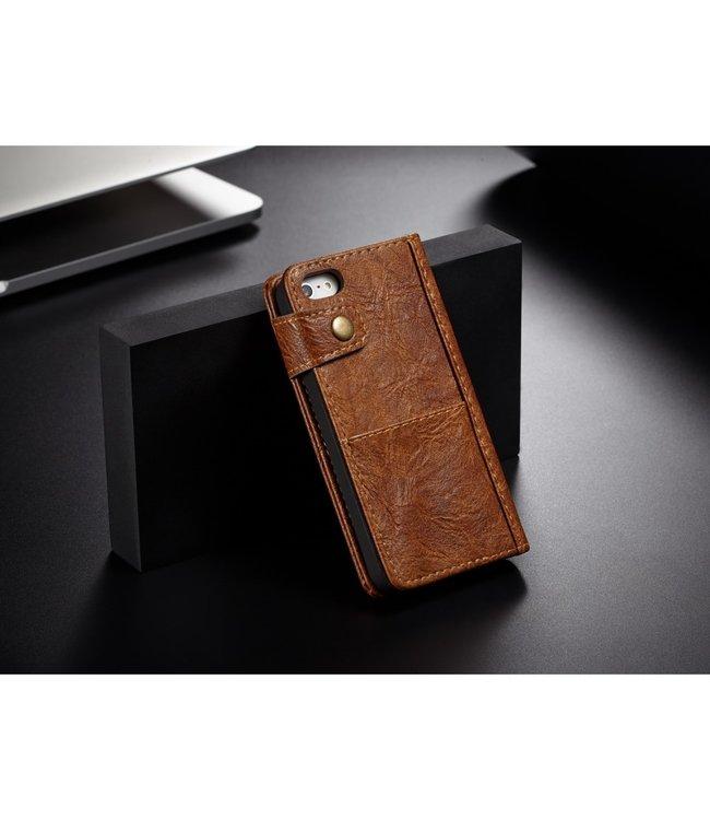 Caseme Leren Wallet Case - iPhone 5(s)/SE - Vintage stijl - Bruin - Caseme