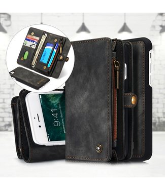 Caseme 2 in 1 Leren Wallet + Case - iPhone 7/8 - Grijs/Bruin- Caseme