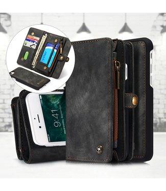 Caseme 2 in 1 Leren Wallet + Case - iPhone 7/8/SE 2020 - Grijs/Bruin- Caseme