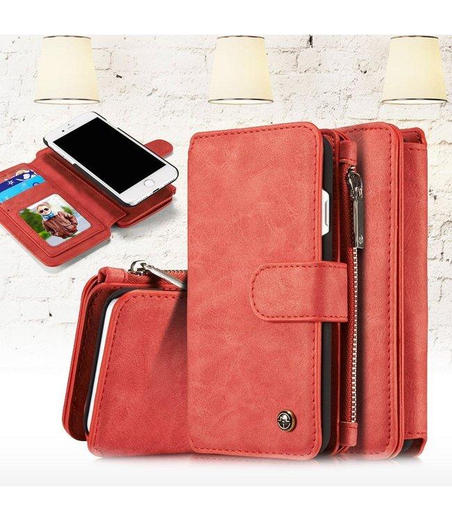 Caseme 2 in 1 Leren Wallet + Case - iPhone 7/8 - Rood - Caseme