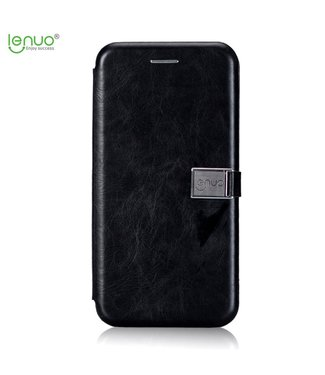 Crazy Horse PU Leren Wallet Case - iPhone 7/8/SE 2020 - Zwart -Lenuo - Crazy Horse