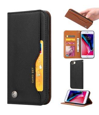 ZWC PU Leren Wallet case - iPhone 6(s)/7/8 Plus - Card Set - Zwart.