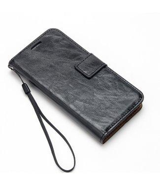 Crazy Horse Leren Wallet case- iPhone 7/8/SE 2020 - Zwart - Crazy Horse