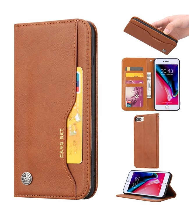 ZWC PU Leren Wallet case - iPhone 6(s)/7/8 Plus - Card Set - Bruin.