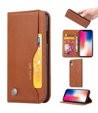 ZWC PU Leren Wallet case - iPhone XR - Card Set - Bruin