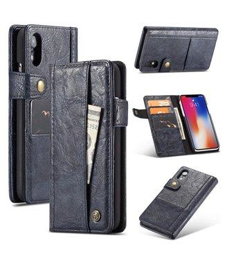 Caseme Leren Wallet Case - iPhone XR - Vintage stijl -  Donkerblauw - Caseme