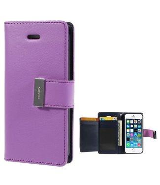 Goospery Leren Wallet case - Rich Diary - iPhone 5(s)/SE - Paars - Goospery