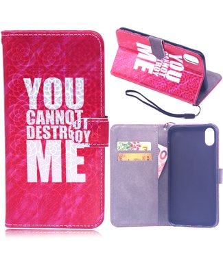 ZWC Wallet case - iPhone XR - laser gravure - You cannot destroy me - Roze