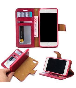 Crazy Horse Leren Wallet Case - iPhone 7/8 - Uitneembaar - Rood/Roze - Crazy Horse
