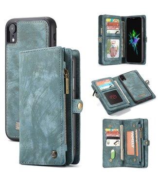 Caseme 2 in 1 Leren Wallet + Case - iPhone XR - Blauw/Groen - Caseme