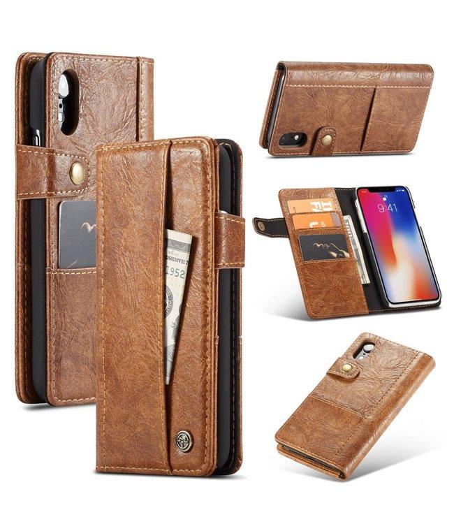 Caseme Leren Wallet Case - iPhone XR - Vintage stijl -  Bruin - Caseme
