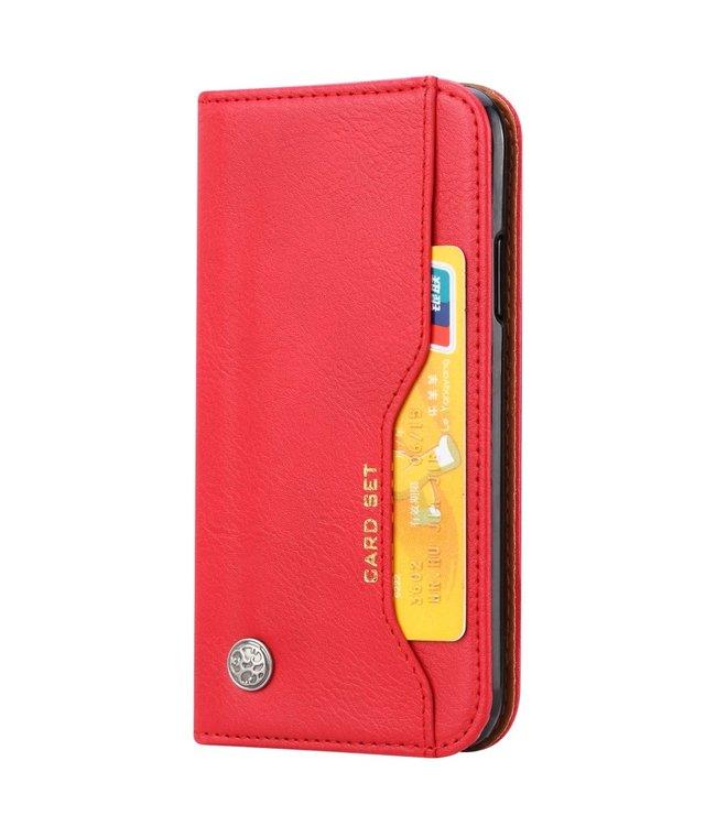 ZWC PU Leren Wallet case - iPhone XR - Card Set - Rood