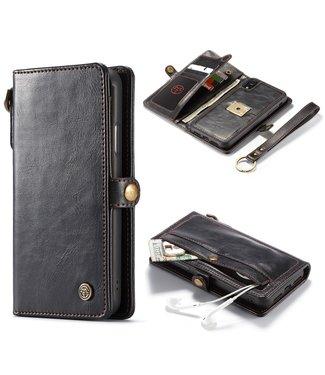 ZWC 2 in 1 Leren Wallet + Case iPhone XR - Qin Series - Zwart - Caseme