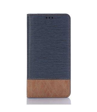 ZWC Leren wallet case - iPhone XR - Bi-collerd - tandenstoker textuur - Blauw