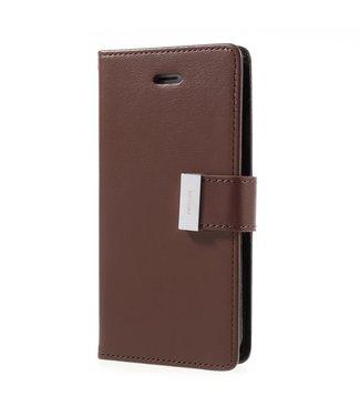 Goospery Leren Wallet case - Rich Diary - iPhone 7/8/SE 2020 - Bruin - Goospery