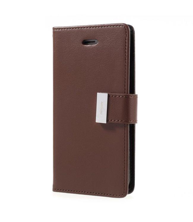 Goospery Leren Wallet case - Rich Diary - iPhone 7/8 - Bruin - Goospery