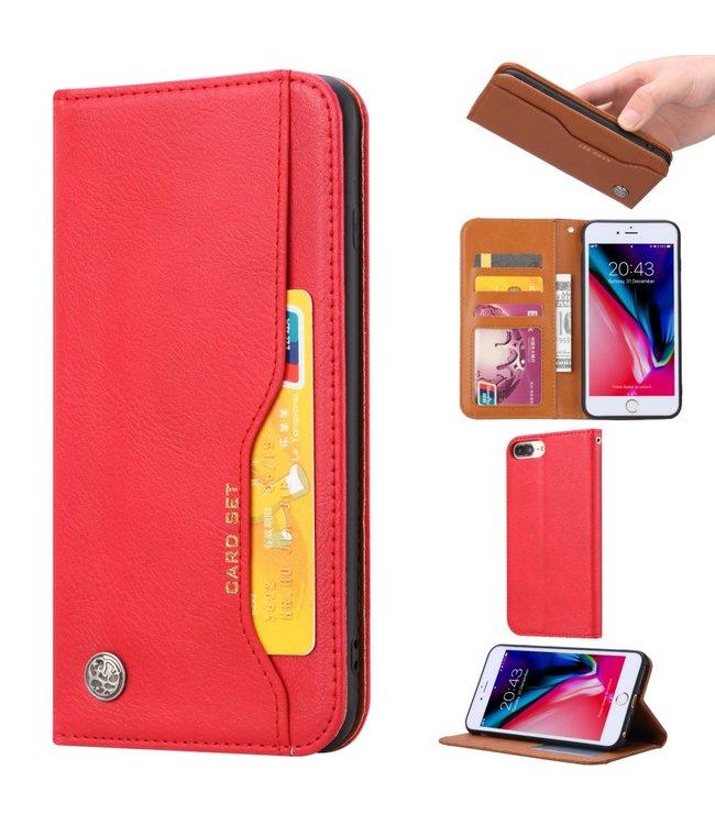 ZWC PU Leren Wallet case - iPhone 6(s)/7/8 Plus - Card Set - Rood