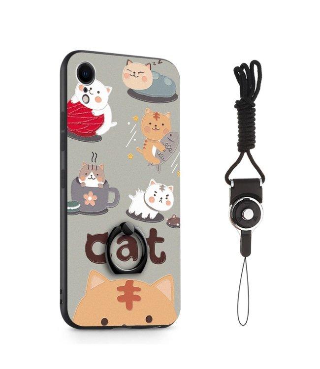 ZWC Hardcase Iphone hoesje met beschermring - Iphone XR - Kattenprint