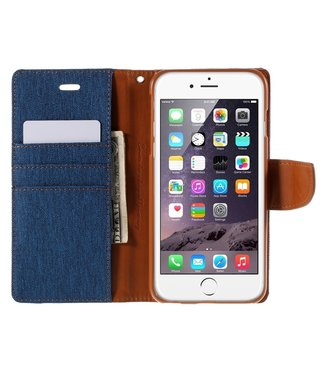 Goospery Canvas Diary Iphone Hoesje - Iphone 6/s Plus - Blue/camel - Goospery