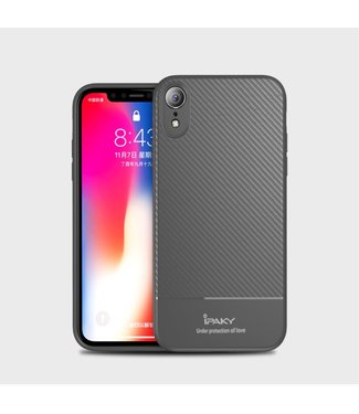 iPaky Carbon Softcase - Iphone XR Hoesje - Grijs - Ipaky