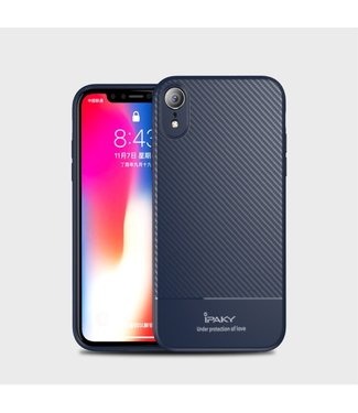 iPaky Carbon Softcase - Iphone XR Hoesje - DonkerBlauw- Ipaky