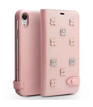 Qialino Leren wallet case - Iphone XR Hoesje - Roze - Qialino