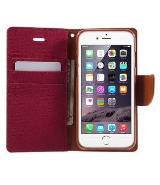 Goospery Canvas Diary Iphone Hoesje - Iphone 6 / 6s - Rood - Goospery