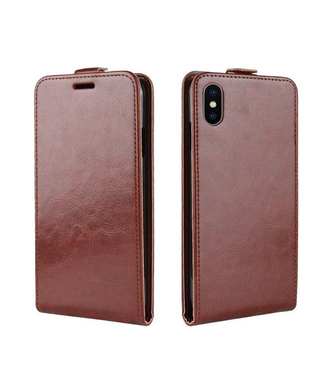 Crazy Horse Flip case - Iphone XR Hoesje - Bruin - Crazy Horse