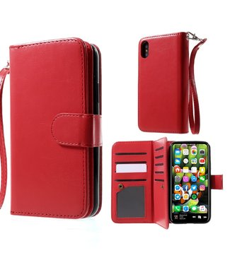 Crazy Horse 2-in-1 wallet case - Iphone X Hoesje - Rood - Crazy Horse