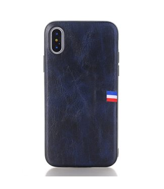 Crazy Horse Vintage Softcase - Iphone X/XS Hoesje - Donkerblauw - Crazy Horse