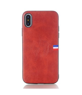 Crazy Horse Vintage Softcase - Iphone X/XS Hoesje - Rood - Crazy Horse