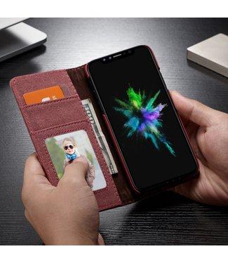 Caseme Leren/stof Wallet Case - Iphone XS Hoesje - Rood - Caseme