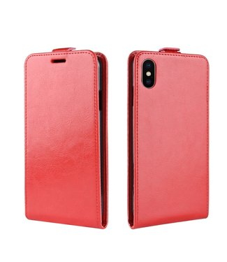 Crazy Horse Flip case - Iphone XR Hoesje - Rood - Crazy Horse